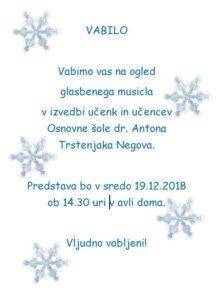 Glasbeni musical učencev in učenk OŠ dr. Antona Trstenjaka Negova