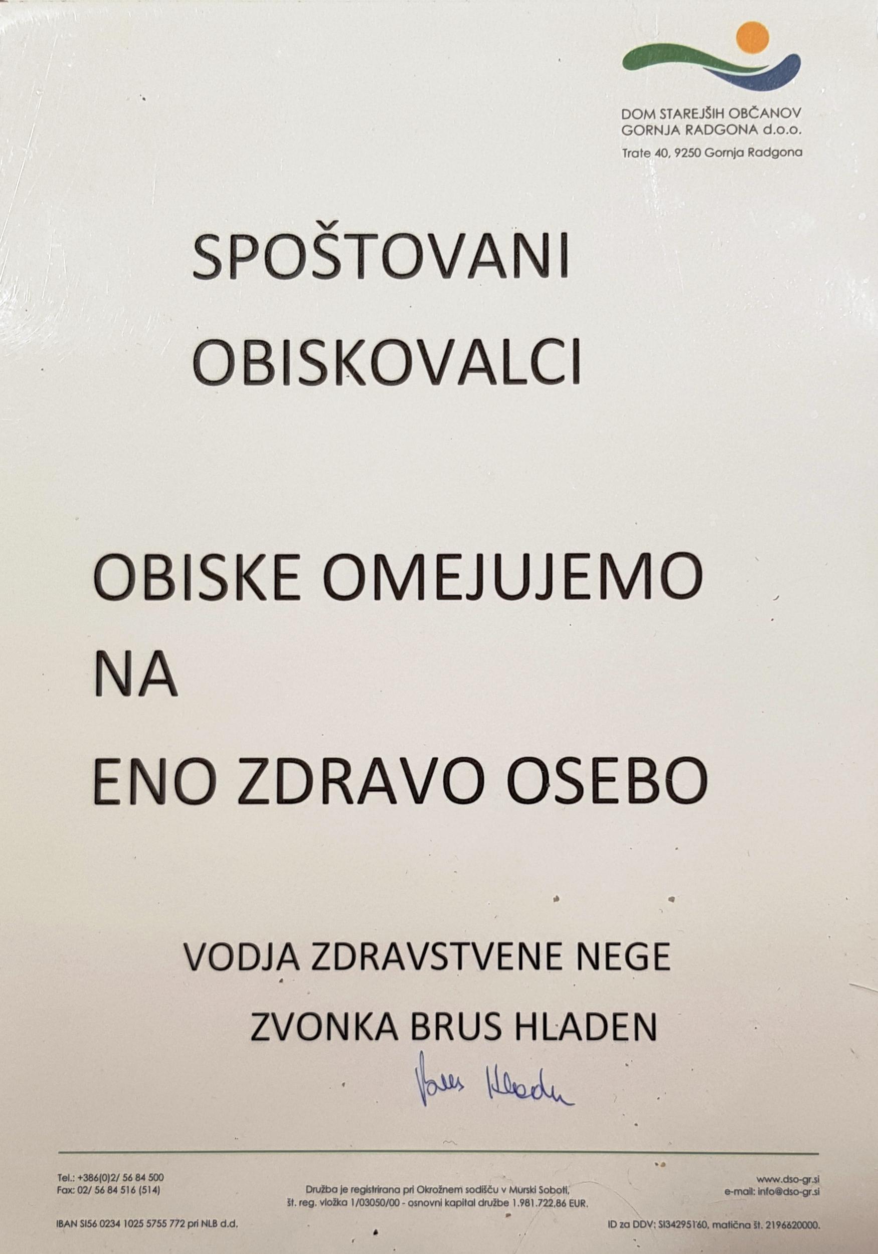 omejitev obiskov